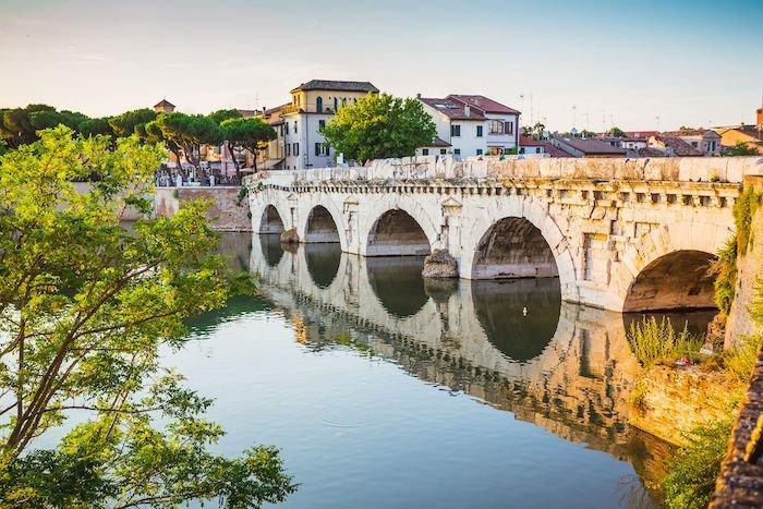 Bridge of Tiberius (Ponte di Tiberio) in Rimini, Italy.