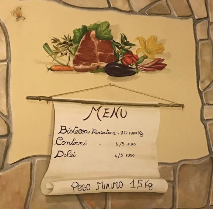 Menu for best steak in Tuscany